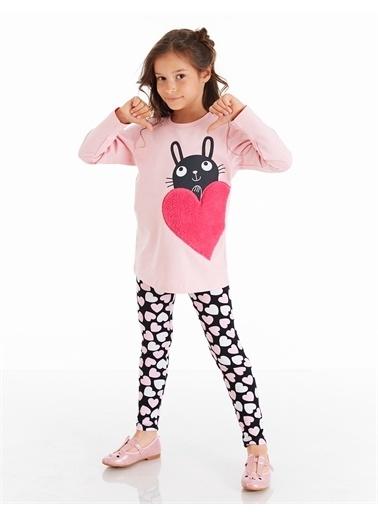 Denokids Tavşan Kalp Baskılı Kız Tayt Takım Siyah